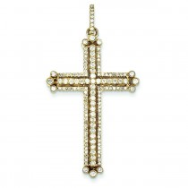 0.94 Ct. Tw. Diamond Budded Cross in 14k Yellow Gold