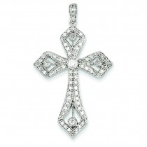 0.63 Ct. Tw. Diamond Budded Cross in 14k White Gold