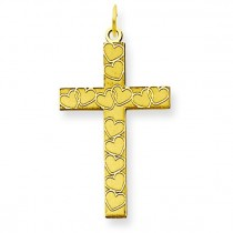 Heart Cross Pendant in 14k Yellow Gold