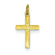 Floral Cross Charm in 14k Yellow Gold
