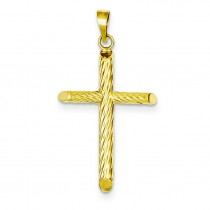 Hollow Cross Pendant in 14k Yellow Gold