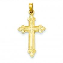 Fleur De Lis Cross in 14k Yellow Gold