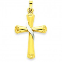 Hollow Cross Pendant in 14k Two-tone Gold
