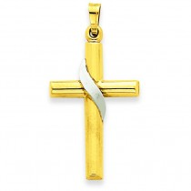 Hollow Cross Charm in 14k Two-tone Gold