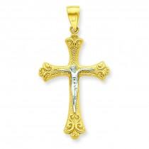 Fleur De Lis Crucifix Pendant in 10k Yellow Gold