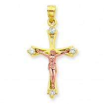 CZ Crucifix Pendant in 10k Two-tone Gold