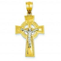 INRI Celtic Crucifix in 14k Two-tone Gold