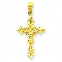Satin Crucifix Pendant in 14k Yellow Gold