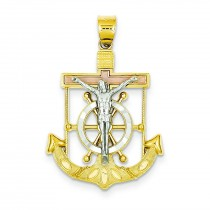 Textured Mariner Crucifix in 14k Tri-color Gold