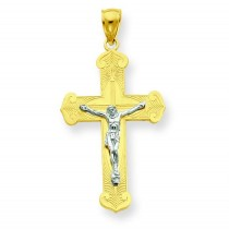 Fleur De Lis Crucifix in 14k Two-tone Gold