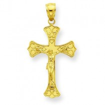 Fleur De Lis Crucifix in 14k Yellow Gold