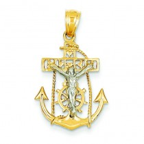 Mariner Crucifix in 14k Two-tone Gold