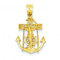 Mariner Crucifix Cross in 14k Yellow Gold
