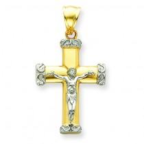 Fleur De Lis Crucifix in 14k Two-tone Gold