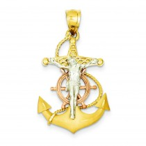 Mariner Crucifix in 14k Tri-color Gold