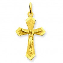 Satin Crucifix Charm in 14k Yellow Gold
