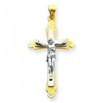Budded Crucifix in 14k Two-tone Gold