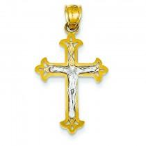 Fleur De Lis Crucifix in 14k Yellow Gold