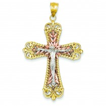 Diamond Cut Crucifix in 14k Tri-color Gold