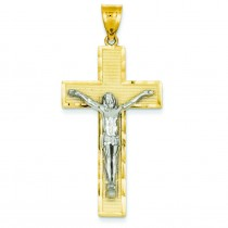 Diamond Cut Crucifix in 14k Two-tone Gold
