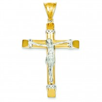 Cubic Zirconia Crucifix in 14k Two-tone Gold