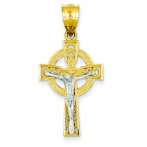 Iona Crucifix Pendant in 14k Two-tone Gold
