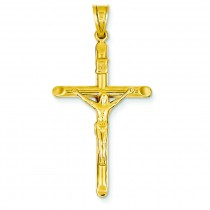 INRI Hollow Crucifix in 14k Yellow Gold