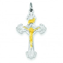 Vermeil INRI Crucifix Charm in Sterling Silver