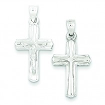 Rhodium Plated Hollow Crucifix in Sterling Silver