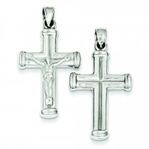 Rhodium Plated Hollow Latin Crucifix in Sterling Silver