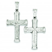 Rhodium Plated Latin Crucifix in Sterling Silver