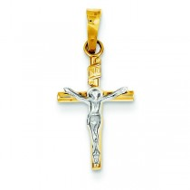 INRI Hollow Crucifix in 14k Two-tone Gold