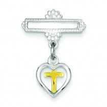 Vermeil Cross Pin in Sterling Silver