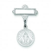 Miraculous Medal Pin in Sterling Silver
