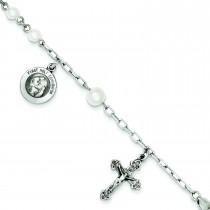 Pearl Rosary Bracelet in Sterling Silver