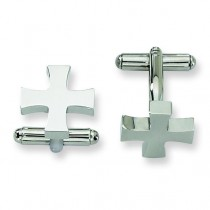 Cross Cuff Links in Stainless Steel