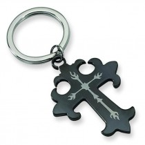 Cross Key Chain in Stainless Steel