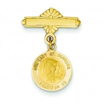 Our Lady Of Sorrows Medal Pin in 14k Yellow Gold