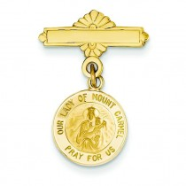 Our Lady Of Mount Carmel Medal Pin in 14k Yellow Gold