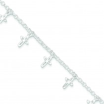 Cross Charm Child's Bracelet in Sterling Silver
