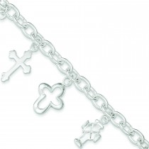 Multi-Cross Bracelet in Sterling Silver