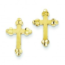 Budded Cross Earring in 10k Yellow Gold