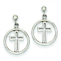 Polished Eternal Life Cross Post Earrings in 14k White Gold