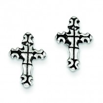 Cross Post Earrings in Sterling Silver