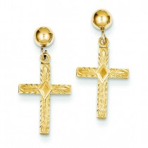 Polished Cross Earrings in 14k Yellow Gold