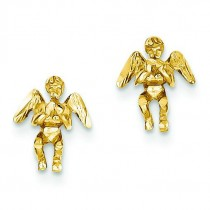 Polished Diamond-Cut Angel Earrings in 14k Yellow Gold