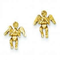 Polished Diamond-Cut Angel Earrings in 14k Yellow Gold