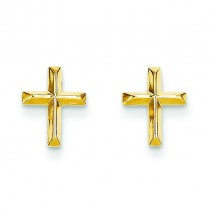 Cross Post Earrings in 14k Yellow Gold