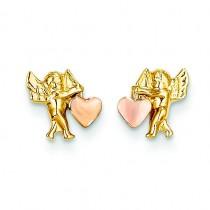 Cupid Heart Post Earrings in 14k Yellow Gold
