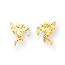 Cupid Screwback Earrings in 14k Yellow Gold